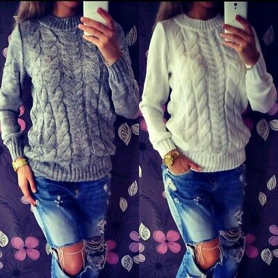 Womens Warm Long Sleeve Cable Knitted Sweater Ladies Tops Pullover Winter Jumper