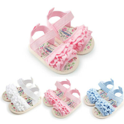 UK Stock Infant Baby Girls Soft Sole Sandals Toddler Summer Shoes Ruffled Sandal