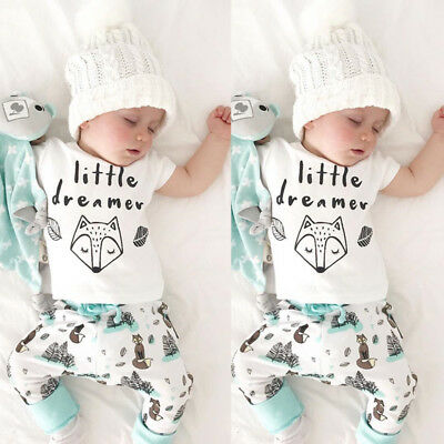 UK Stock Newborn Infant Baby Boy Fox Print Tops+Long Pants 2Pcs Clothes Outfits
