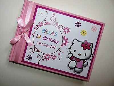Personalised Hello Kitty Girls/first/1St Birthday Guest Book Any Design