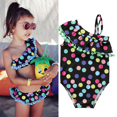 UK Kids Baby Girls Polka Dot Swimwear Bikini Swimsuit Swimming Costume Bathing