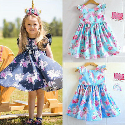 UK Kids Baby Girls Unicorn Cartoon Party Pageant Princess Dress Sundress Clothes