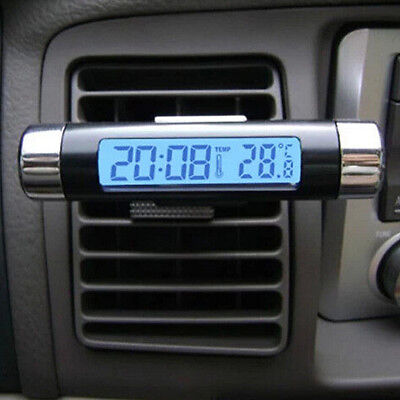 2 in 1 LED Auto Clock Car Thermometer Luminous Outlet Transparent Digital Clock