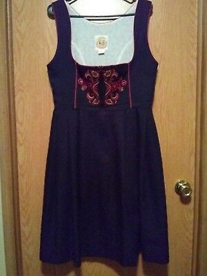 Vtg Licht Trachtenhaus Size 16 German Dirndl Dress Black Embroidered Octoberfest