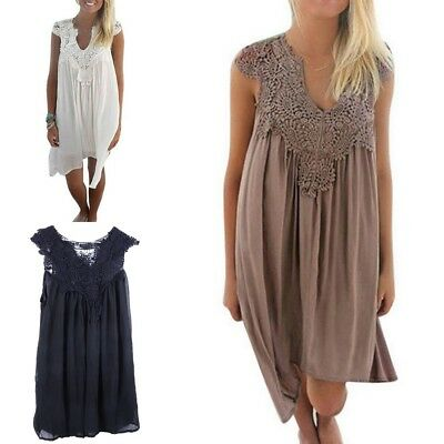 3490d7d529 Women Beach Cover Up Lace Chiffon Tunic Dress Hollow Out Bathing Suit Cover  Up