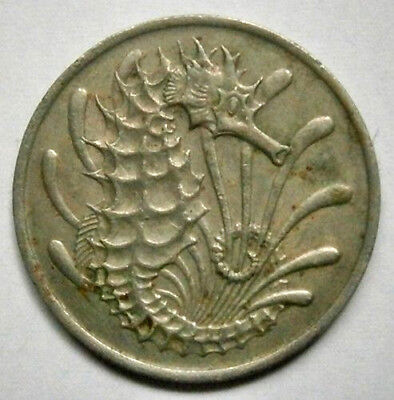 Singapore 10 Cent 1968  Seahorse Fish  Coin