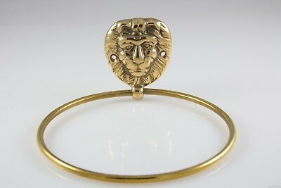 Vintage Golden Brass Lion Mane Head Hand Towel Holder Loop Ring Bathroom Dish
