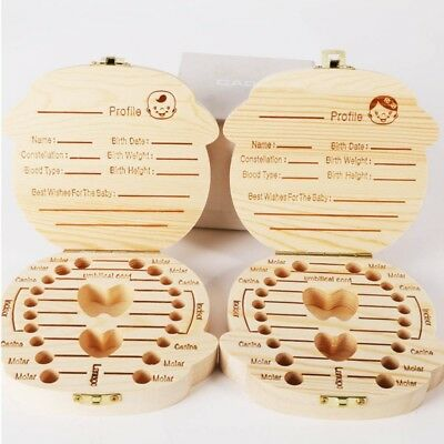 US Baby Kids Wooden Save Milk Tooth Storage Organizer Boys Girls Teeth Save Box