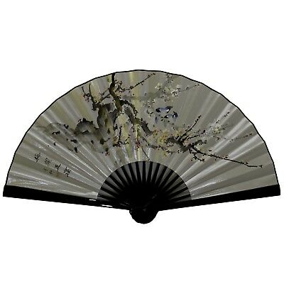 Vintage Large Chinese Folding Plum Blossom Silver Silk Fan Home Art Decor
