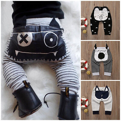 Newborn Baby Boy Girl Cartoon Bottom Pants Trousers Harem Pants Legging Panty UK