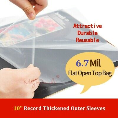 50 Flat Open Top Bag 6.7Mil Plastic Vinyl Record Outer Sleeves for 10'' Record