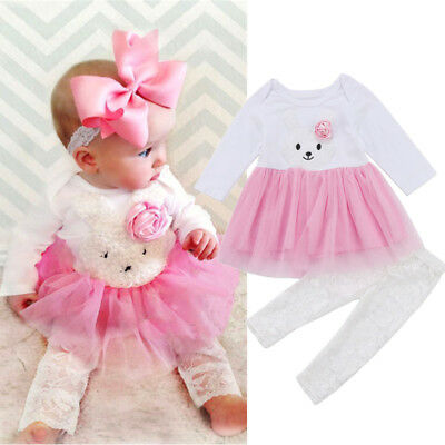 UK Newborn Kids Baby Girl Flower Bunny Lace Dress Top Skirt Pants Outfit Clothes