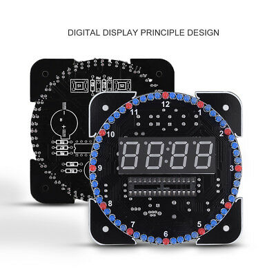DIY DS1302 Rotating LED Clock Electronic Digital Temperature Alarm Time 5V Kit