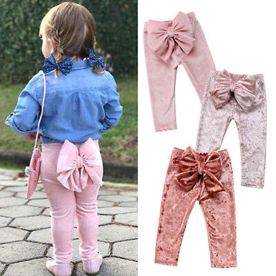 UK Kids Baby Girl Princerss Bowknot Bottoms Velvet Long Pants Leggings Trousers