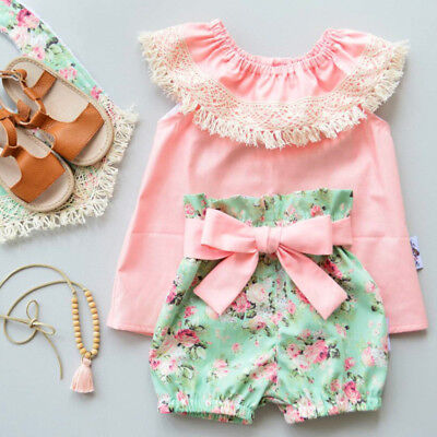 UK Kids Baby Girl Lace Tassels Off Shoulder Floral Top Shorts Outfit Set Clothes