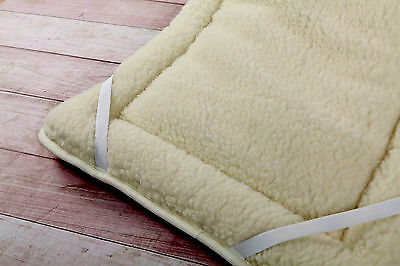 THICK MERINO WOOL PERUGIANO NATURAL Mattress Topper Bed Cover ALL SIZES WOOLMARK