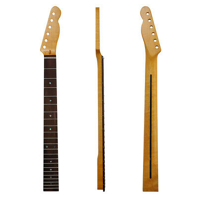 22 Fret Tiger Flame Maple Tele Guitar Neck Rosewood Fingerboard w/ Abalone Inlay