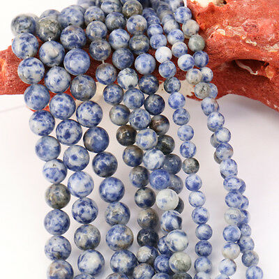 15'' Natural Blue Spot Gemstone Stone Spacer Loose Beads Findings 4/6/8/10MM