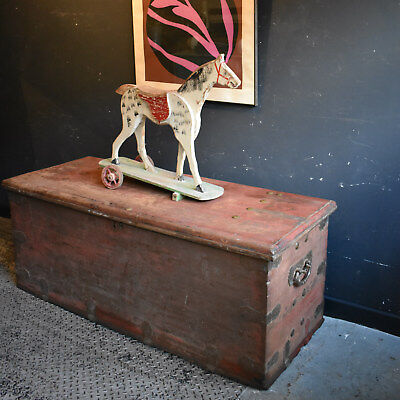 Enormous Antique Chinese Trunk Wooden Storage Chest