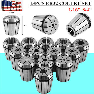 "ER32 Spring Chuck COLLET 13PC SET 1/16""-3/4"" Inch by 16th PRECISION NEW VIP"