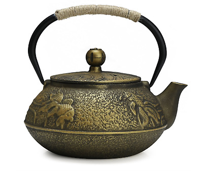 Strainer Japanese Cast Iron Teapot Kettle with Infuser Cherry Blossoms F8M6