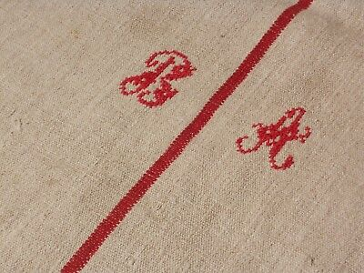 Antique European Feed Sack GRAIN SACK BA Monogram # 10472
