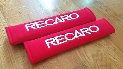US 2 x Red Recaro Embroidered - Seat Belt Shoulder Cover Pads Racing Decal