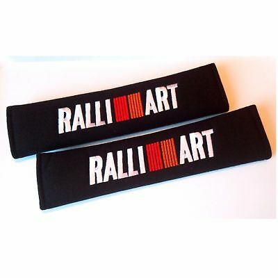 US 2 x Ralliart Embroidered - Seat Belt Shoulder Cover Pads Racing Decal