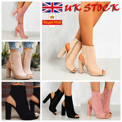 UK Womens High Heels Sandals Peep Toe Side Zipper Ankle Boots Summer Shoes Size