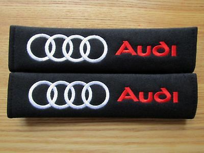 US 2 x Audi Logo Embroidered - Seat Belt Shoulder Cover Pads Racing Decal