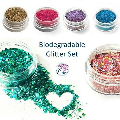 TRIAL PACK 6 Biodegradable Eco Bio Glitters - incl 2 CHUNKY! tattoos nails  Kfa