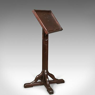 Antique Lectern in Pitch Pine, English Book Rest Circa 1900