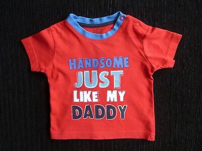 "Baby clothes BOY 3-6m bright red/blue""Handsome like Dad"" short sleeve t-shirt"