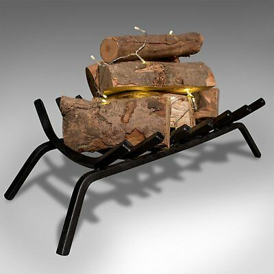 Antique Fire Basket, Free Standing Fireplace Iron Grate, Circa 1900
