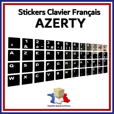 Autocollant / Stickers AZERTY pour clavier Français - Touche QWERTY vers AZERTY