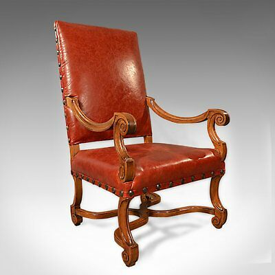 Large Antique Leather Armchair, Walnut Frame, French 19th Century Circa 1880