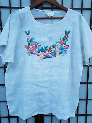 Elohim Womens XL Guatemala Cotton Embroidered Birds & FlowerTunic Shirt Spanish