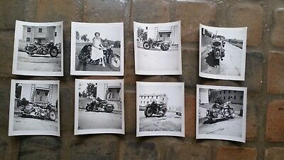 Antique Vtg Harley Davidson Knucklehead Polaroid Photos Dresser w Girl X 7