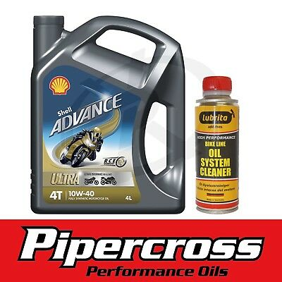 Shell Advance Ultra 4T 10W-40 Bike Engine Oil 4L 4 Litres + Oil System Cleaner