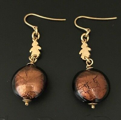 Made in Italy Murano Glass Drop Earrings 14K Yellow Gold Plated