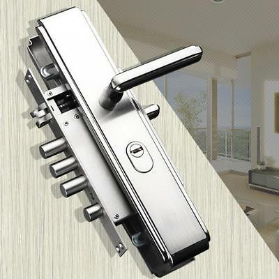 Stainless Steel Door Security Privacy Entrance Lever Handle Lock Body Set #2