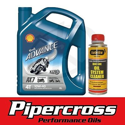 Shell Advance 4T AX7 10W40 4L 4 Litre Engine Oil + Motorcycle Oil System Cleaner