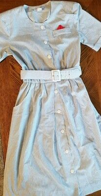 VTG Periwinkle Women's Size 10 Nautical Stripe Dress Made In USA with Belt