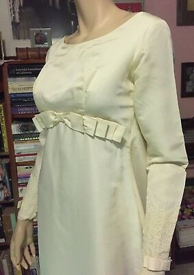 Vintage 1960s EDYTHE VINCENT ALFRED ANGELO Full Length Wedding Gown LOOP BUTTONS