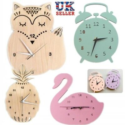 Wooden Wall Clock Owl Chic Home Decor Kids Room Antique Clock Battery Operated