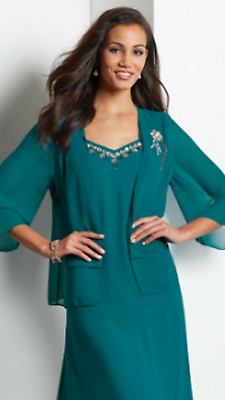 Midnight Velvet Teal Formal Beaded Neck Jacket Dress Wedding Cruise L 1X 2X 3X