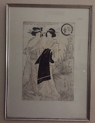 Antique Two Geishas Painting by Yeizan (Japanese, C. Late 1700's) Signed Marked