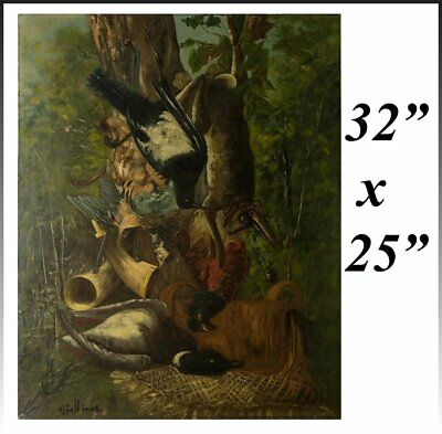 Antique French Oil Painting, Fruits of the Hunt, Game Still Life, Duck, Hare
