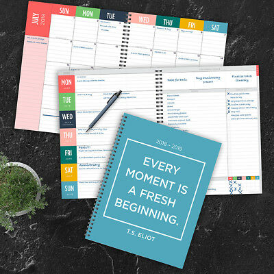 July 2018 - June 2019  Every Moment Large Weekly Monthly Planner