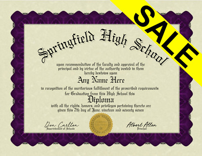 Fake Bordered High School Home School Diploma /w Embossed Gold seal Novelty Gag